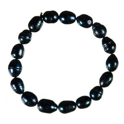 Bracciale di Perle di Acqua Dolce Ovali Nere