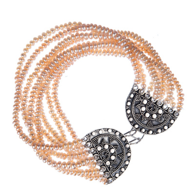 Bracciale a Fascia di Perle rosate ed Argento 925