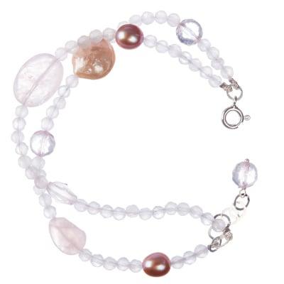 Bracciale di sfere sfaccettate di Quarzo Rosa con elementi in Perle