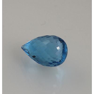 Gemma di Topazio Azzurro - Taglio Briolette - Goccia 1.2x1.82x1.2