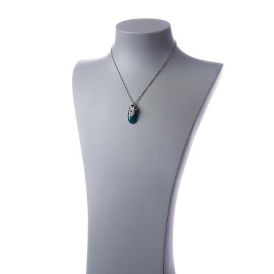 Collana con ciondolo di Agata Verde e Argento 925