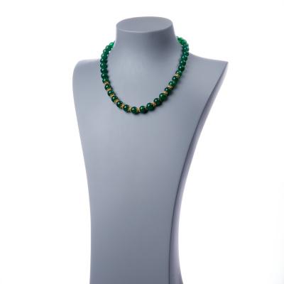 Collana in Agata Verde e Argento dorato, sfere 10mm