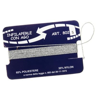 Filo Infilaperle in Nylon e Poliestere con ago - Argento - Diametro da 0.4 a 0.8 mm