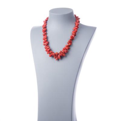 Collana di Corallo Mediterraneo Rosso Naturale e Argento 925 Rodiato.