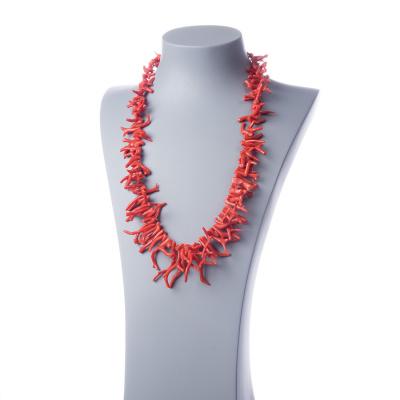 Collana a rametti di Corallo Mediterraneo Rosso Naturale e Argento 925 Rodiato.