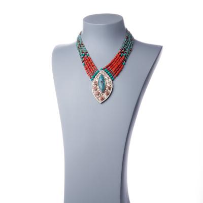 Collana Etnica in Argento Tibetano, Corallo e Turchese