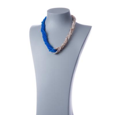 Collana Torchon in Pietra Di Luna, Agata Azzurra e Argento 925