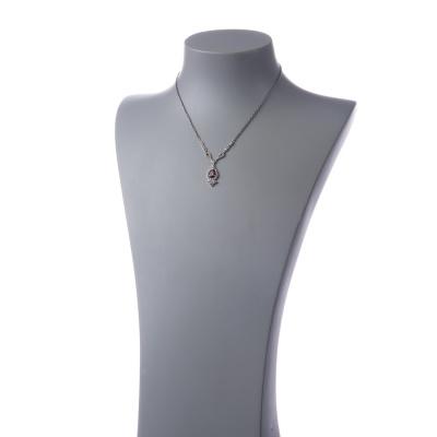 Collana corta con pendente di Granato, Marcasite e Argento 925
