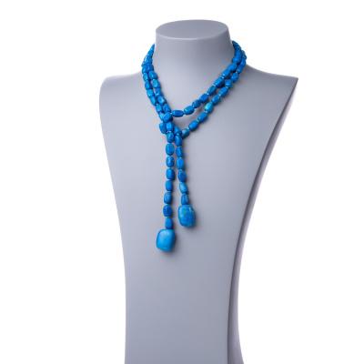 Collana Lunga a Sciarpa di Howlite Azzurra