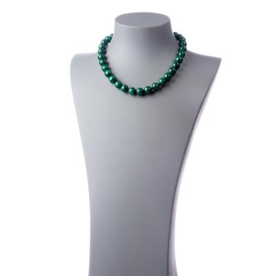 Collana Corta a Sfere di Malachite da 12mm e chiusura ad anello in Ag 925