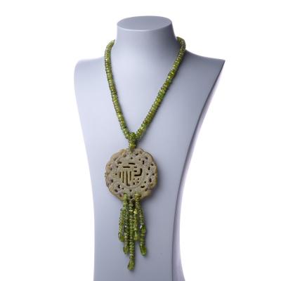 Collana Lunga in Giada, Olivina e Ag 925