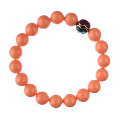 Bracciale Corallo Bambù Rosa con elemento tibetano, elastico, sfere 10mm
