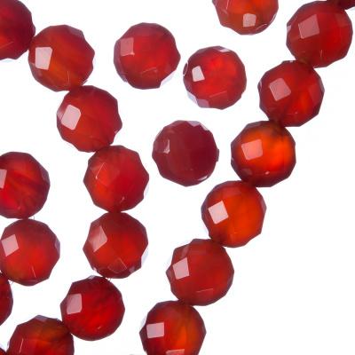 Corniola - Filo di sfere sfaccettate da 10mm