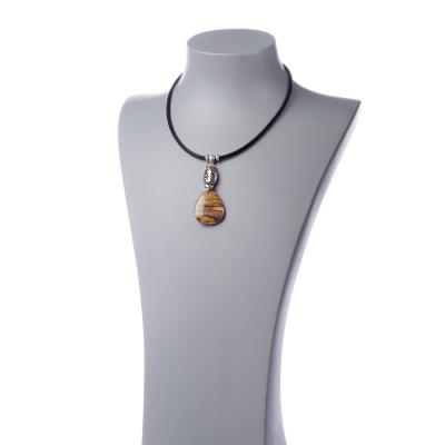 Collana corta con Paesina e metallo argentato
