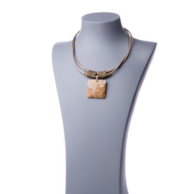 Collana Corta con Pendente quadrato di Pietra Paesina