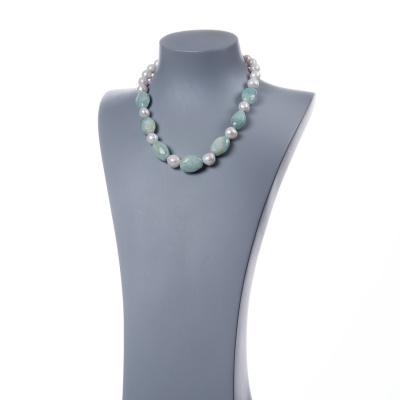Collana di Perle, Acquamarina e Argento 925