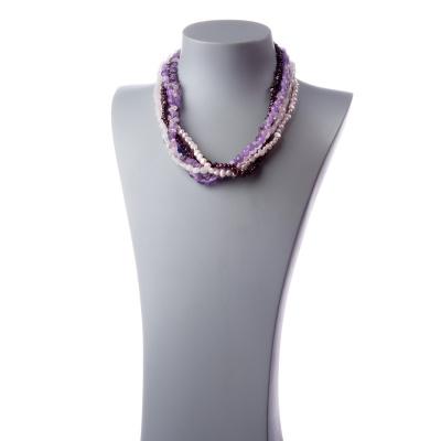 Collana di Pietre varie, filo di Perle e Argento 925
