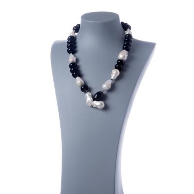 Collana di Perle Barocche, Onice Nera e Argento 925 Rodiato