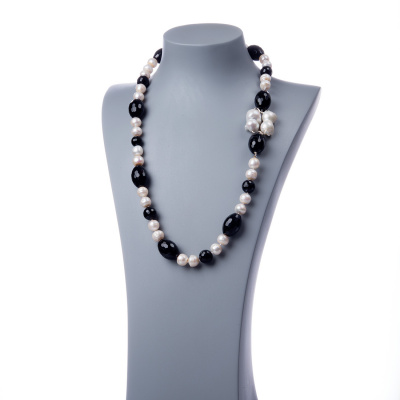 Collana di Perle, Onice nera e Argento 925