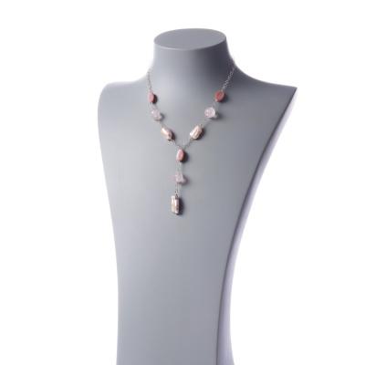Collana con elementi di Quarzo Rosa, Perle e Ag 925