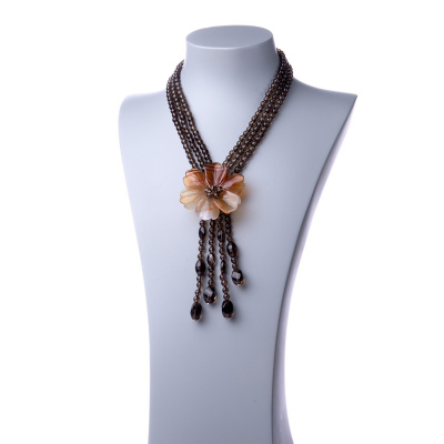 Collana Corta con fiore di Agata, Quarzo Fumé e Ag 925
