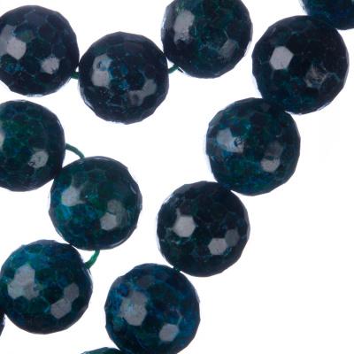 Crisocolla - Filo di sfere sfaccettate da 14mm