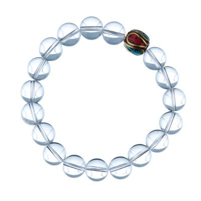 Bracciale Cristallo Di Rocca con elemento tibetano, elastico, sfere 10mm