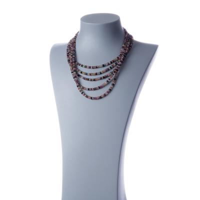 Collana di Tormalina 5 fili multicolore in rondelle e Argento 925