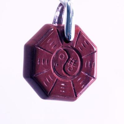 Ciondolo Unisex Yin Yang in Diaspro Rosso levigato e Ag 925