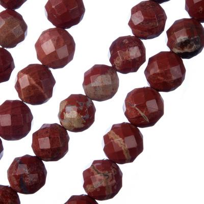 Diaspro Rosso - Filo di sfere sfaccettate da 10mm