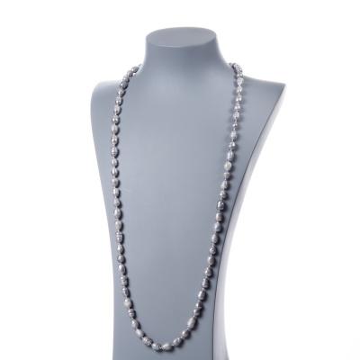 Collana di Perle Grigie d'Acqua dolce ovali