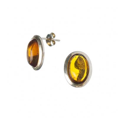 Orecchini Ovali Ambra e Argento 925