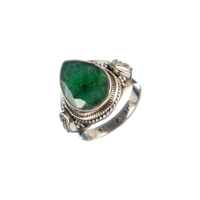 Anello Smeraldo a goccia e Argento 925