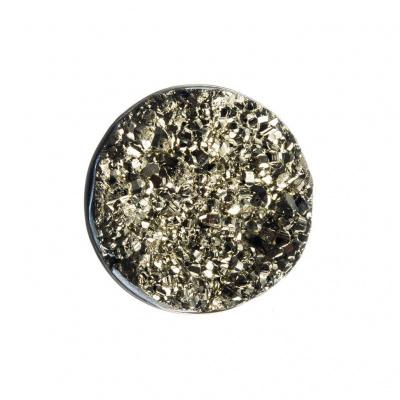 Spilla tonda di Pirite grezza e Argento 925