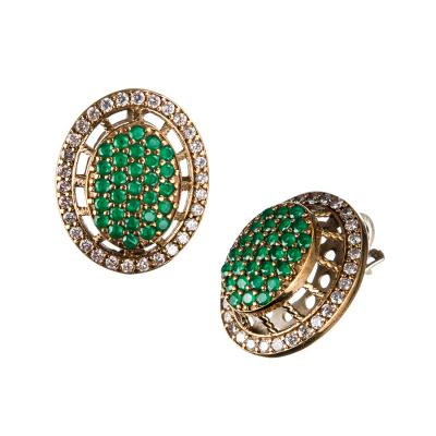 Orecchini di Agata Verde ovali in Argento 925 e Bronzo - Stile Turco