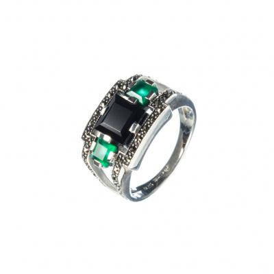 Anello di Spinello nero, Agata Verde, Marcasiti e Argento 925