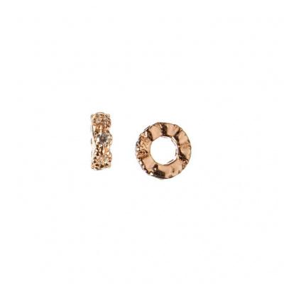 Distanziatore Micro Rondella in Argento 925 Rosa con Zirconi Bianchi 4mm - confezione 4 pz