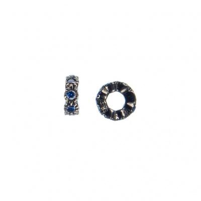 Distanziatore Micro Rondella in Argento 925 Nero con Zirconi Blu 4mm - confezione 4 pz