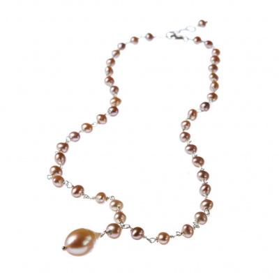 Collana di Perle Rosa e Argento 925