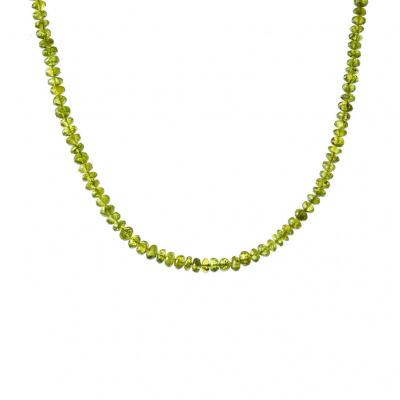 Collana di Olivina rondelle e Argento 925