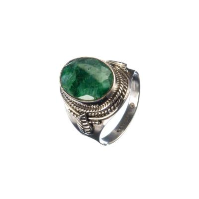 Anello di Smeraldo ovale e Argento 925