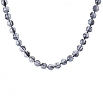 Collana Quarzo Tormalinato qualità Extra e Argento Nero 925, Sfere 10 mm