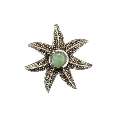 Ciondolo di Smeraldo Stella Marina con Marcasiti e Argento 925