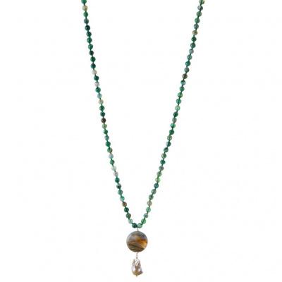 Collana di Agata Verde Striata, Diaspro Orbicolare e Perla Barocca