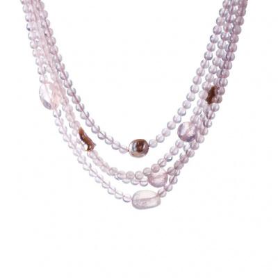 Collana di Quarzo Rosa, Perle e Argento 925