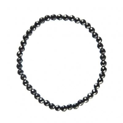 Bracciale Ematite, elastico, sfere sfaccettate 4mm