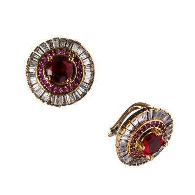 Orecchini tondi di Agata Rossa in Argento 925 e Bronzo - Stile Turco