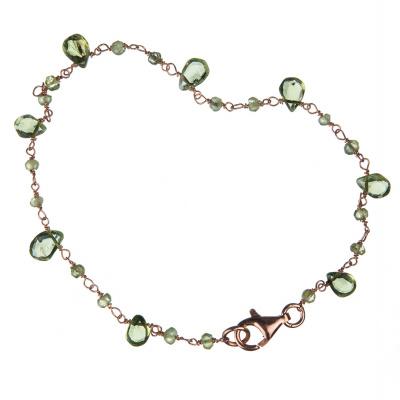 Bracciale in Olivina e Argento 925 rosa - Fiori di Primavera