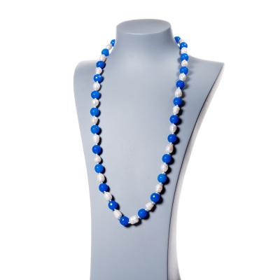 Collana in Perle d'Acqua dolce e Agata Blu sfaccettata