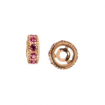 Distanziatore Rondella in Argento 925 Rosa con Zirconi Rubino 6mm